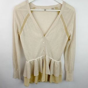 Knitted and knotted anthropologie ruffled cardigan